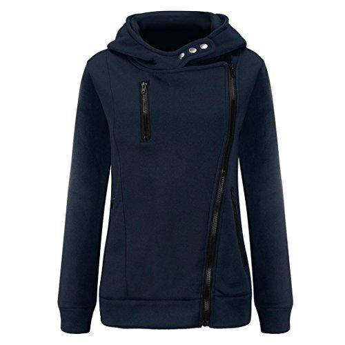 Koly _Le donne Velvet ispessito maglione Zipper cappotto (s, Marina Militare)