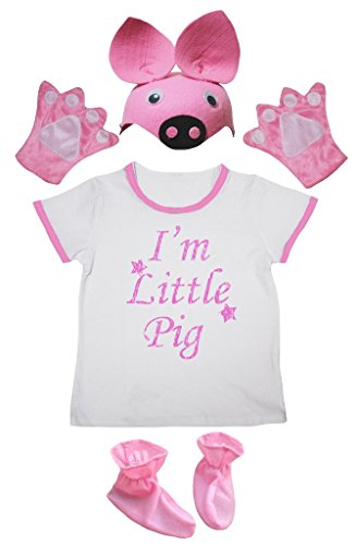 Petitebelle Ich bin Little Pig Shirt Rosa Hut-Handschuh-Schuh-Mädchen 4pc Kostüm 3-4 Jahre Hellrosa, Weiß
