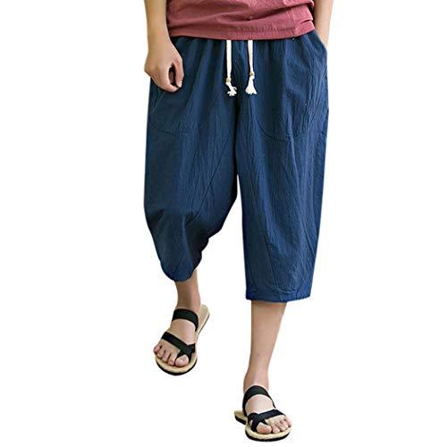 ??Amlaiworld Leinen Baumwoll Weite Beinhosen Sommer Strand locker Pants Tasche Sport Herren Hosen Mode Band 3/4 lang Freizeithose männer Gemütlich Fitness Streetwear