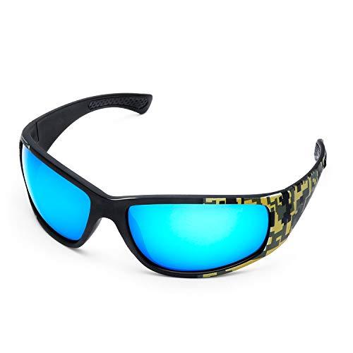 LAMEDA Sonnenbrille Herren Polarisierte Fahrradbrille Damen Motorradbrille Sportbrille mit UV400 Schutz für Radfahren Motorrad Autofahren Fischen Golf Laufen Wandern (Rahmen: Camo, Linse: Blau)