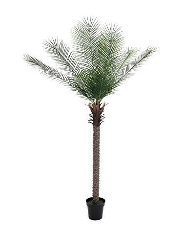 artplants Set 'Phönix Kunstpalme + Gratis UV Schutz Spray' – Künstliche Dattelpalme NEVANA, uv-sicher, grün, 220 cm