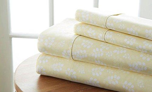 Einfach Soft 4Stück weizen Muster Bed Sheet Set, elfenbeinfarben, Volle Größe -