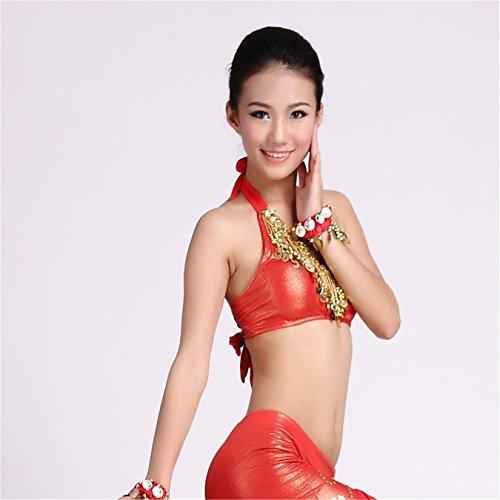 Women Sexy Dance Tops Bauchtanz Costume Sequins Coins Sleeve Halter Bra Top Dancewear Bauchtanz Tops Red