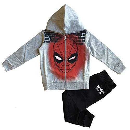 Marvel tuta spiderman felpa + pantalone 3 4 5 6 7 8 anni (6 anni / 116 cm, grigio)