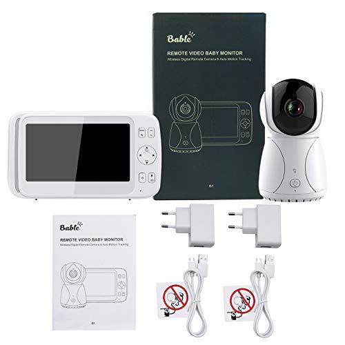 Bable Babyphone mit Kamera G1, 5 Zoll Großer Bildschirm Babyfon mit Fernbedienung Kamera, 300 Meter Signalreichweite, automatische Verfolgung, Ton und Temperaturalarm, Nachtsicht, Wiegenlied und Zweiwege Audio - 7