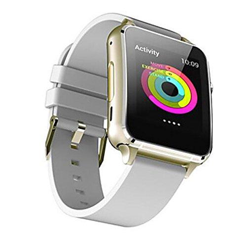 PDFGO M88 Multifunktions-Smartwatch Bluetooth 4.0 MTK2502 Sim Unterstützung SIM TF Card Herzfrequenz-Monitor Für IOS Android,Gold/White