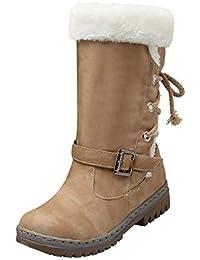 Zapatos Invierno Mujer Botas de Nieve Antideslizante Seguridad Calzado Caño Calentar Planas Casual Outdoor Aire Libre y Deportes Sneakers