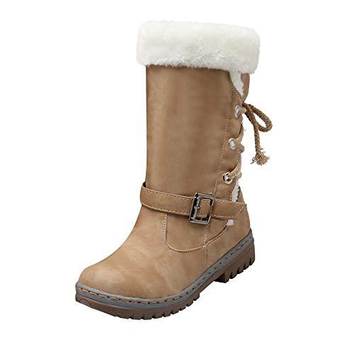 BHYDRY Schuhe Damen Warme Stiefel Klassiker ZurüCk Krawatte Schnalle Frauen Schneestiefel Winterschuhe Mode Flache ()