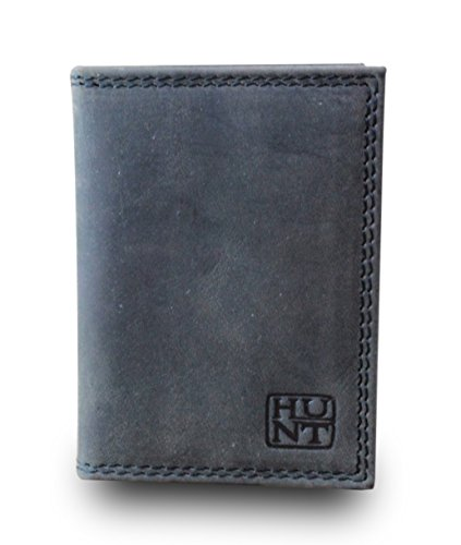 HUNT Card Case Creditcard Case Visitekaartje Case Bifold Premium Buffalo Leer Vintage Used Look Donker Bruin