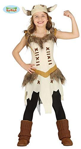 Generique - Wikinger Kinderkostüm für Mädchen Fasching braun-beige 123/134 (7-9 Jahre) (Mädchen Kostüm Wikinger)