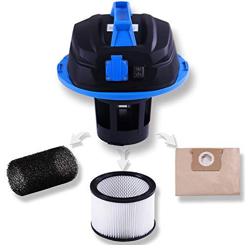 Masko® Industriestaubsauger – blau, 1800Watt ✓ Mit Steckdose ✓ Blasfunktion ✓ GS-Geprüft   Mehrzwecksauger zum Trocken-Saugen & Nass-Saugen   Industrie-Sauger verwendbar mit & ohne Beutel   Wasser-Staubsauger beutellos mit Filterreinigung - 3