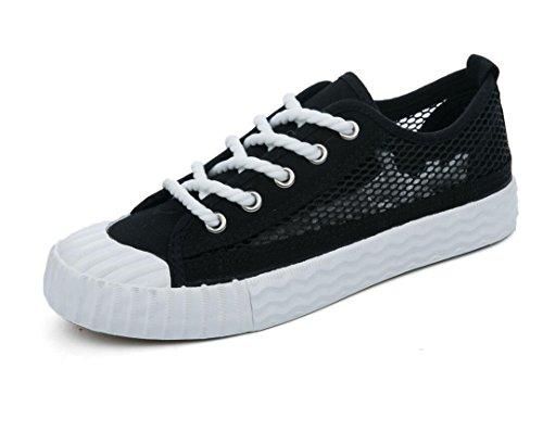 SHFANG Lady Shoes Permeabilità Semplice Solido Colore Tempo libero Canvas Shoes Movimento Studenti di Rete Scuola Estiva Tre Colori Black