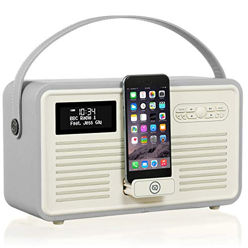 VQ RETROMKII-LG DAB+ Digital- und FM-Radio mit Bluetooth/Apple Lightning Dock/Weckfunktion Hellgrau Fm-transmitter Charge Dock