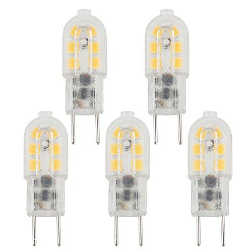 Bonlux 3W G6.35 LED Birne Glühlampe AC/DC 12V Warmweiß 3000K Bi pin JC Typ GY6.35 Glühbirne für Schreibtischlampe, Accent, Display, Landschaftsbeleuchtung (5-Stück) (Gy6.35 Base Bi-pin)