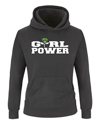 Comedy Shirts - Girl Power Rose - Mädchen Hoodie - Schwarz / Weiss-Neongrün Gr. 134/146 (Hoodie Power-kinder)