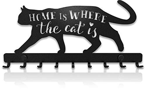 Porte-Clés Mural Sweet Home Chat Décoratif (Support à 9 Crochets), Patère en Métal pour Porte d'Entrée, Cuisine ou Garage   Rangement pour Clés de Maison, Travail, Voiture, Véhicules   Décor Vintage