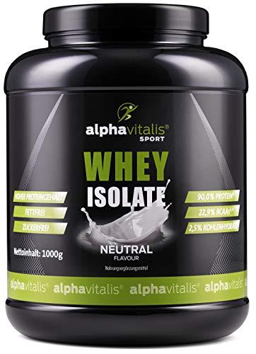 Whey Protein Isolate Neutral - H²O-optimiert - 90% Protein! - Neutrales Eiweiß Pulver - Zuckerfrei - Fettfrei - 1000g WPI Eiweiss ohne Süßstoff -