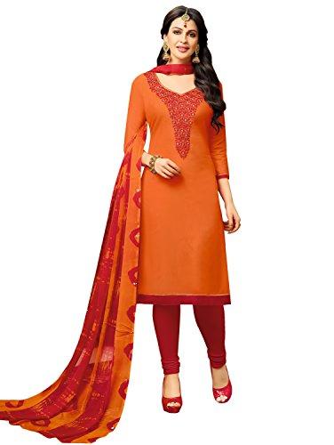 Pisara Women's Chanderi unstitched salwar suit dress material,Orange & Red