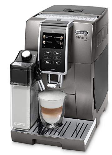 De'Longhi Dinamica Plus ECAM 370.95.T - Kaffeevollautomat mit integriertem Milchsystem, 3,5''TFT Touchscreen & App-Steuerung, automatische Reinigung, Kaffeekannen-Funktion, 34,8x23,6x42,9cm, Titan