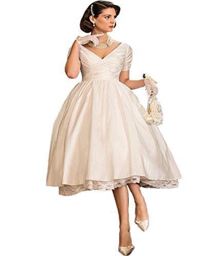 Brautkleid Spitze Tee-länge (mxgirls Tee Länge Brautkleid mit Spitze Rand v Hals Brautkleider kurzen Ärmeln (52, Elfenbein))