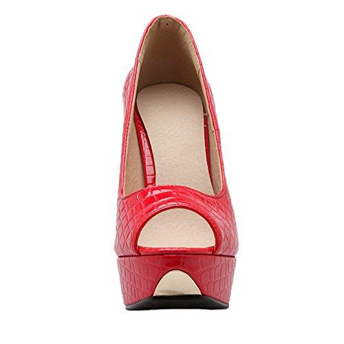 UH Femmes Escarpins Peep Toe Vernis à Talons Super Hauts Aiguilles avec Plateforme pour Partie et Travaille Rouge