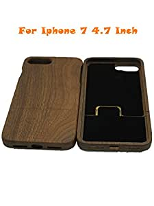 """szwisechip Black walnut 4.7 inch natural real bamboo wood wooden hard case cover for iphone 7 (4.7"""")(Black Walnut)"""