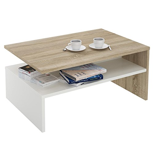 CARO-Möbel Couchtisch Wohnzimmertisch Beistelltisch Paulina in Sonoma Eiche/weiß mit Ablagefach 90 x 60 cm -