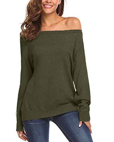 Auxo Damen Schulterfrei Langarm Shirt Lose Oversize Sweatshirt Asymmetrisch Tops Oberteile 02-grün XXL Grüne Damen Pullover