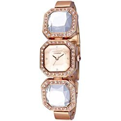 WEIQIN 3912 Fashionable and Concise Diamond Dial Acrylic Crystal Window Quarz Jewelry Armband Wrist Uhr mit Diamond Encrusted Alloy Band für Frauen (Rose Gold)