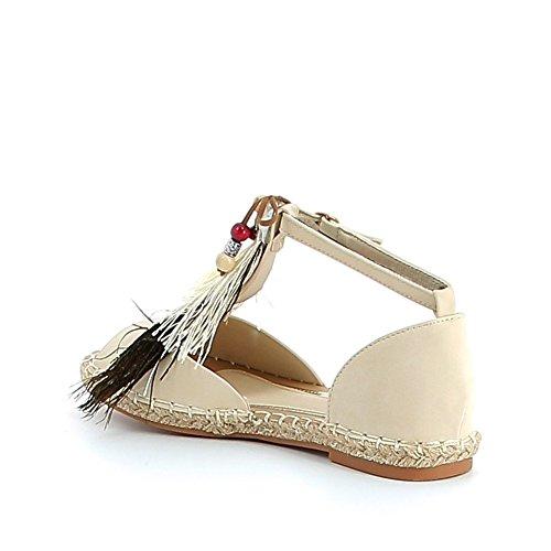 Nu-pieds avec breloques et plumes de paon Beige