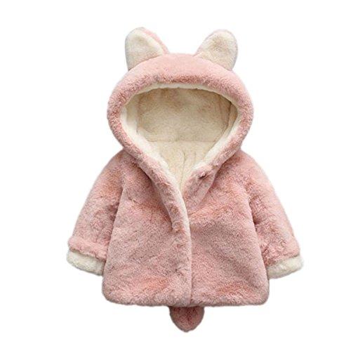 ARAUS Baby Jacke Fell Mädchen Winterjacke Mit Kapuzen Warm Kinderjacke Ohren 0.5-5 Jahre Rosa 1-2 Jahre -