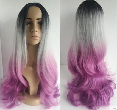 Damen Perücken, große Welle, welliges Haar, lebendige, Minute, Matt-Perücke, drei Farben, Farbverläufe und gefälschte Haare (Gefälschte Perücke)