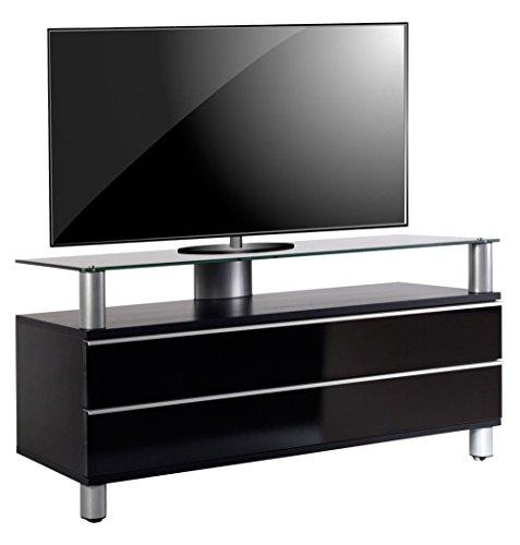 Holz-konsole Schrank (VCM TV Lowboard Schrank Tisch Rack Fernseh Fernsehtisch Konsole Möbel schwarzlack / schwarzglas 55x 120 x 40 cm