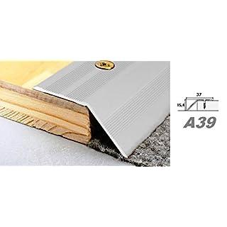 Aluprofile, Leiste Bodenprofil Übergang Alu Höhenausgleichsleiste 37x15mm, A39, Länge:0.90 Meter, Farbe:Silber