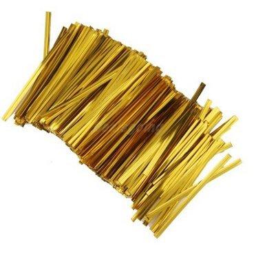 Gold Krawatten-tasche (funcoo 800Stück 10,2cm Metallic Twist Krawatte für Bakery Candy Lollipop Cello Tasche gold)