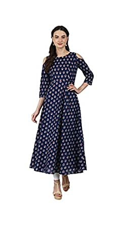 AnjuShree Choice Women's Cotton Stitched Kurti (Blue, ASC034NAYOBPRINT-s)