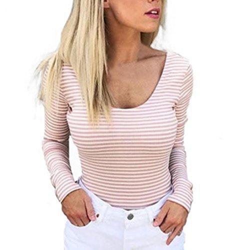 Rcool Damen Schulterfrei Langarm Shirt Gestreiftes Rückseite Aussparungen Shirt Oberteil T-Shirt Tops gestreiftes Top mit Langärmlig (Rosa, XL) (Gestreift, Top Puff-Ärmel)