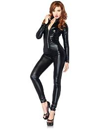 Leg Avenue 85047 - Wet Look Catsuit Kostüm, Größe M Größe: M (EUR 38-40), Schwarz, Dessous Damen Reizwäsche