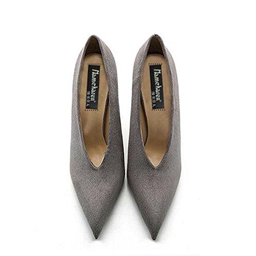 YIXINY Pumps Tide Mädchen Damenschuhe High Heels Mode V-Anschluss Spitze Party Feiner Absatz 8 Cm ( Farbe : Grau , größe : EU38/UK5.5/CN38 )