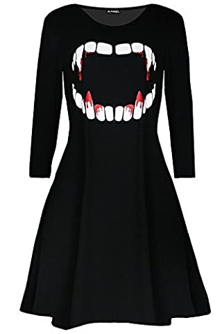 Women Ladies Fancy Costume Vampire Horror Blood Halloween Smock Swing Mini Dress