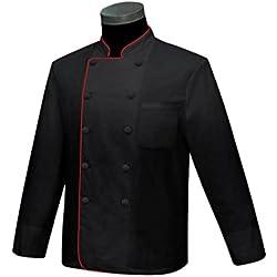 Misemiya ® Casaca Cocina Uniforme Bar Restaurante Hostelería DE Chef Cocinero Bar Restaurante Mangas LARGAS - Ref.842B - XXL, Negro