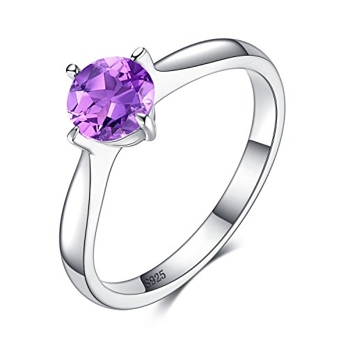 Amethyst-ring-rund - (JewelryPalace Klassisch Runde 0.8ct Original Lila Amethyst Solitaire Verlobungsring 925 Sterling Silber Damen-Ring 925 Sterling Silber Größe 51 to 59)