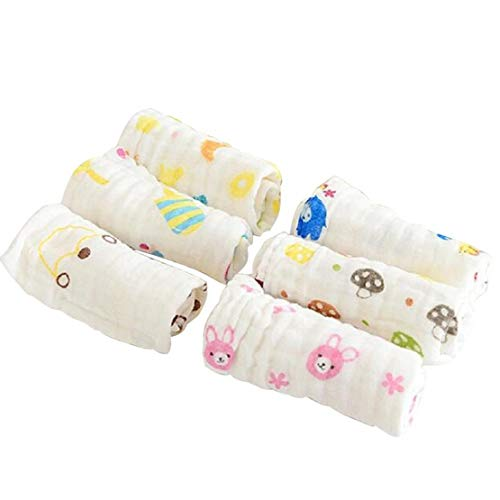 Set di 6 Molle Fumetto Mussola di Cotone Baby Doccia Regali Bagno washcloths con Gancio riutilizzabili Newborn Babies Asciugamani per la Pelle sensibile (Colore Casuale)