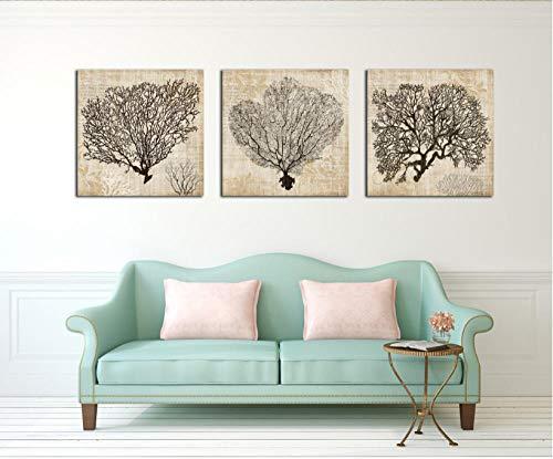 3 Stücke Korallen dekorative gemälde Dekoration für Wohnzimmer leinwand gemälde wandbilder Keine Frames-60x60cmx3pcs Kein Rahmen