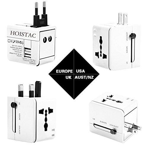 Adaptador de viaje, cargador de pared con doble puerto de carga USB y convertidor de enchufes universal. Valido para USA, EU, UK, AUS, móviles y portátiles (Blanco)