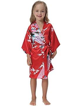 Aibrou Bata Niñas sexy y elegante de Aspecto Brillante Kimono Niñas Corto Albornoz satén Lenceria Seda,Suave,Cómodo...