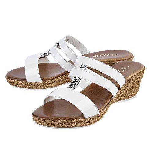 Lotus Jolly Weiß Glänzend Keil Sandalen Weiß