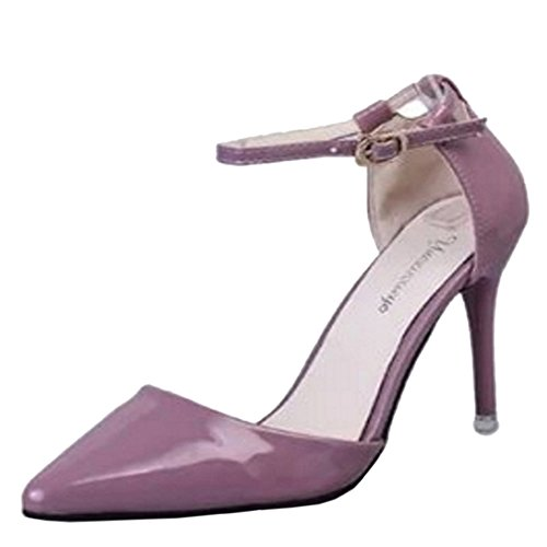 COOLCEPT Femmes Elegant Pointue Mince Talon hauts Sandales Cheville Chaussures Rose