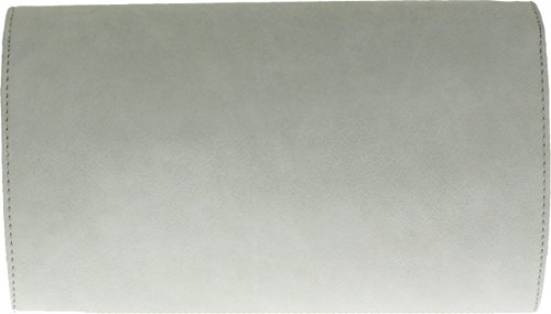 H&G Womens ecopelle Pochette asimmetrica due tono telaio sera partito Prom Bag (Grey) Grey White