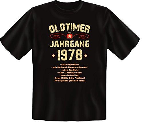 Zum 38 Geburtstag, Oldtimer / Jahrgang 1978, Humorvolles Herren Fun-t-shirts Geschenk zum Geburtstag mit Sprüche-Motiv:, , Schwarz